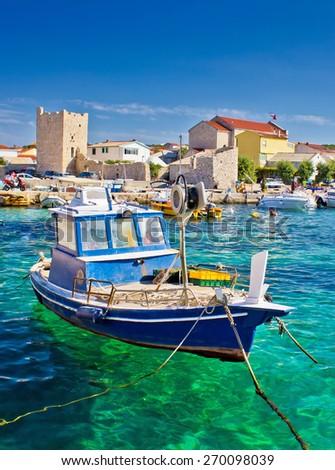 Adriatic Town of Razanac colorful waterfront, Dalmatia, Croatia - stock photo