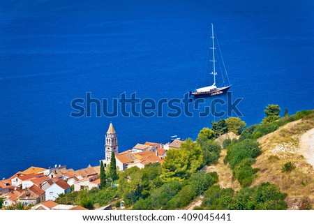Adriatic town of Vis sailing destination waterfront, Dalmatia, Croatia - stock photo