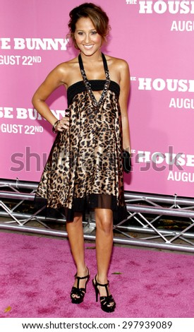 Adrienne Bailon at the Los Angeles premiere of 'House Bunny' held at the Mann Village Theatre in Westwood on August 20, 2008.  - stock photo