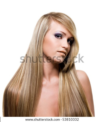 Adult adult  Girl with beauty long blond straight  hairs - over white background