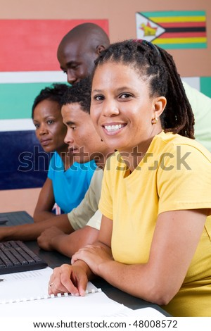 adult african american students in classroom