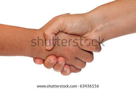 Adult and child shaking hands isolated on a white background