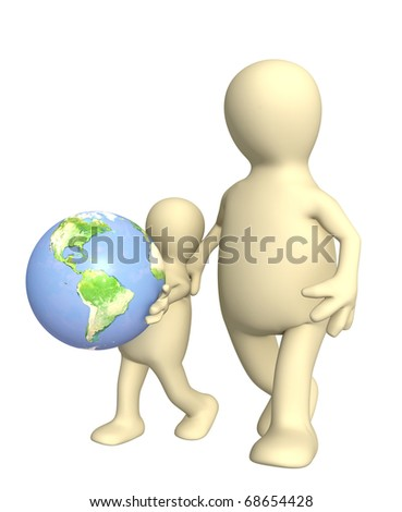 Adult and child with Earth. Isolated over white - stock photo