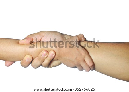 adult and kid hands hold each other firmly isolated on white