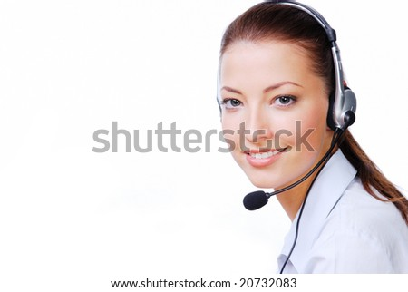 Adult attractive operator in the  headset. Stuido shot on a white background