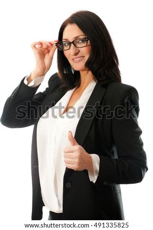 adult beautiful solid woman with glasses and a jacket on a white background