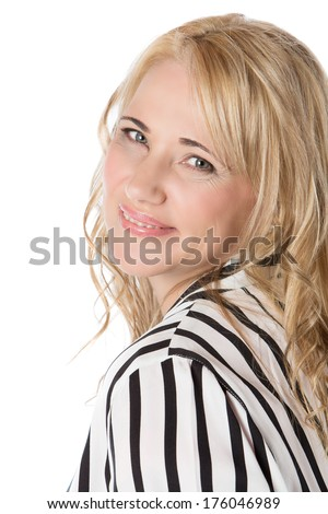 Adult blonde caucasian businesswoman wearing a pink top and a striped jacket. Image is isolated on a white background. - stock photo