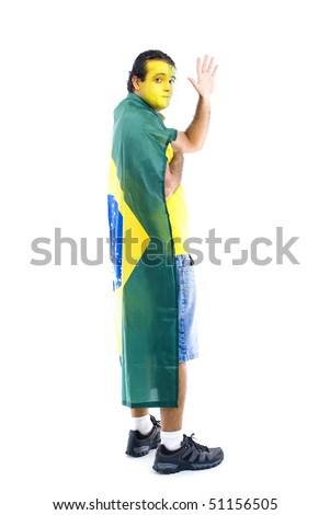 Adult Brazilian Supporter with the flag . - stock photo