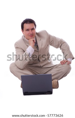 Adult businessman, alone ower white background with  computer, isolated photo.