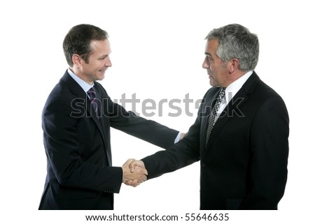 adult businessman handshake expertise portrait dark suit white background - stock photo