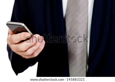 adult businessman with smartphone mobilephone isolated on white