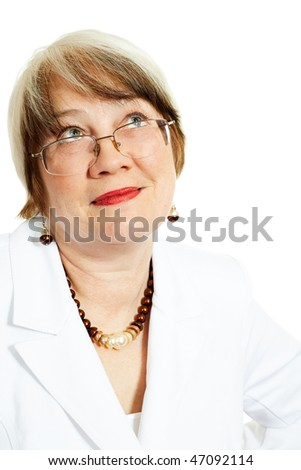 Adult caucasian businesswoman over white background - stock photo