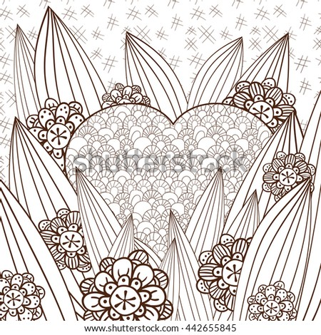 Adult Coloring Page Cute Heart Magic Stock Vector