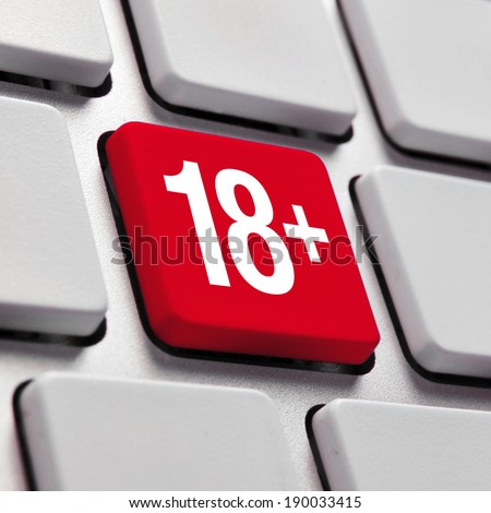 Adult content on internet, 18+ concept symbol on red button keyboard - stock photo