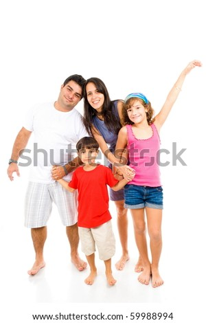 Adult Couple and children on white background .