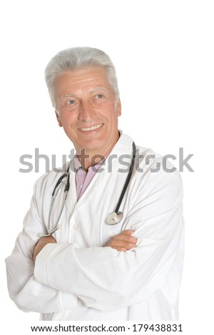 Adult doctor in white on a white background