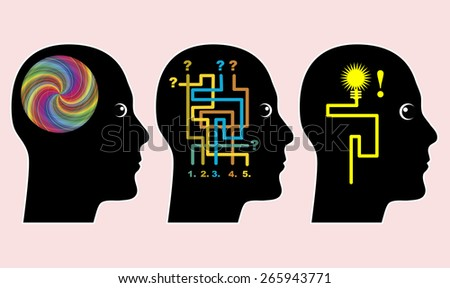 Adult Education Concept. Effective learning style through brain storming and self contained problem solving in adult education - stock photo