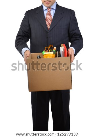 Adult employee being laid off because company downsized - stock photo