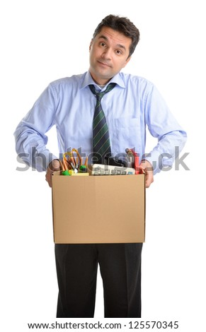 Adult employee being laid off because company downsized. - stock photo