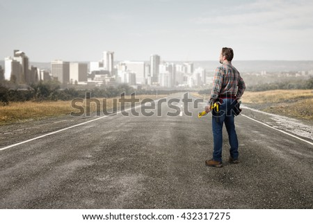 Adult engineer man - stock photo