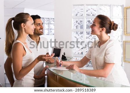 adult european couple patients visiting clinic family planning - stock photo