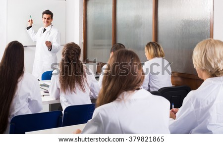 adult european health-care workers during educational program in medical school - stock photo