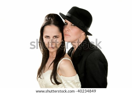 Adult Female Couple as Bride and Groom - stock photo