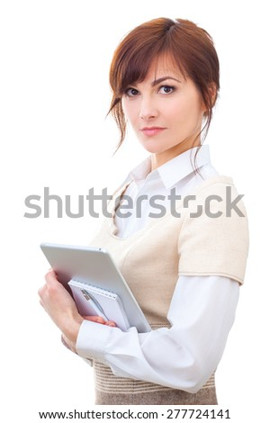 adult female holding notepad and tablet pc, isolated on white - stock photo