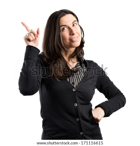 Adult girl  thinking an idea over isolated white background  - stock photo