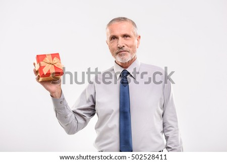 adult guy with a present box