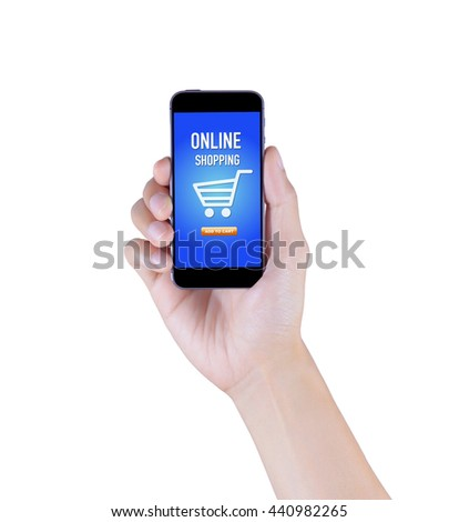 Adult hand holding smartphone with online shopping application screen on isolated white background, lifestyle technology concept