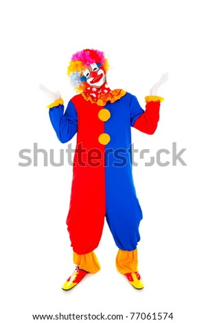 Adult happy Clown on white background . - stock photo