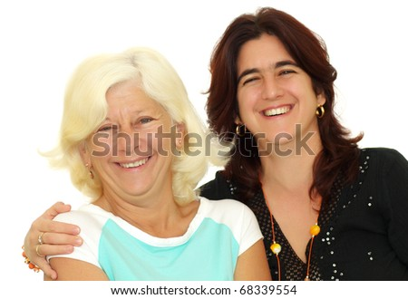 Adult hispanic woman hugging her mother isolated on a white background - stock photo