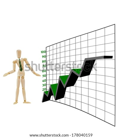 Adult male businessman mannequin Business Graph Chart isolated on white background - stock photo