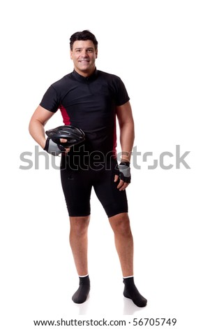 Adult male cyclist. Studio shot over white. - stock photo