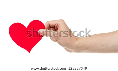 adult male hand holding paper heart, isolated on white - stock photo