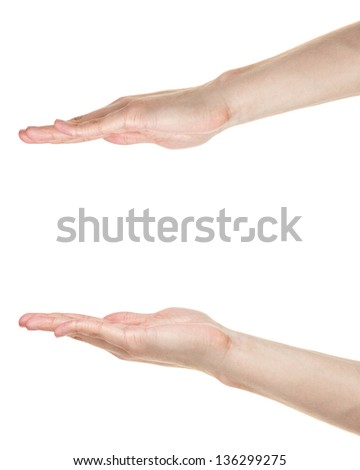 adult male hands measuring something, isolated on white