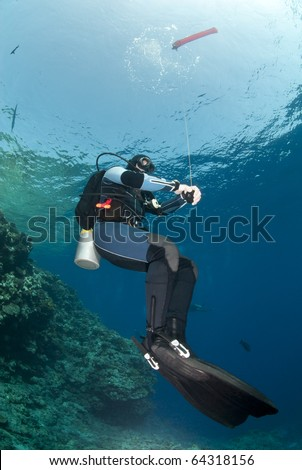 Adult male scuba diver holding a surface marker buoy and hovering mid-water. Yolanda reef, Ras Mohamed National Park, Red Sea, Egypt.