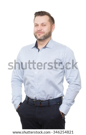 adult male with a beard. isolated on white background. Body language. non-verbal cues. training managers. hands in his pockets