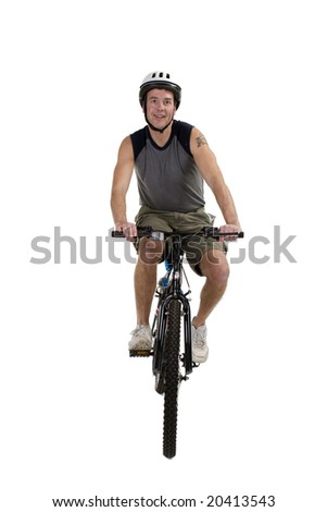 Adult male with bicycle over a white background