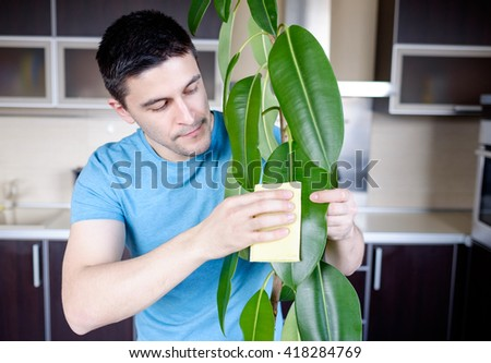Adult man cleaning pipal in kitchen by yellow cloth