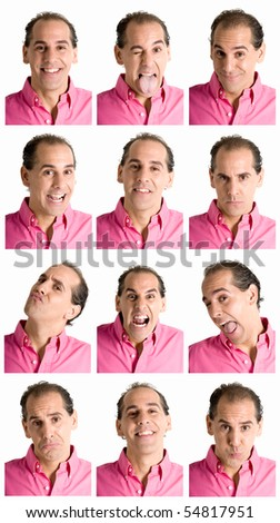 Adult man face expressions composite isolated on white background. - stock photo