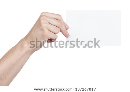 adult man hand holding blank medium size paper card, isolated on white