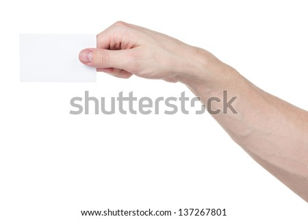 adult man hand holding blank visiting card, isolated on white - stock photo