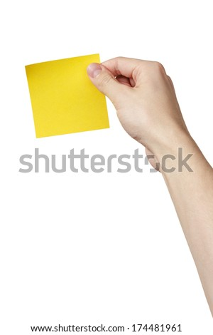 adult man hand holding sticky note, isolated on white - stock photo