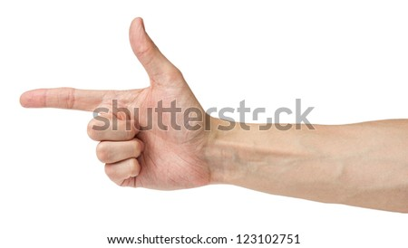 adult man hand shows angle, isolated on white
