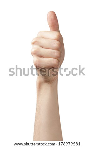 adult man hand thumb up front view, isolated on white - stock photo