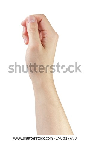 adult man hand to hold anything, isolated on white - stock photo