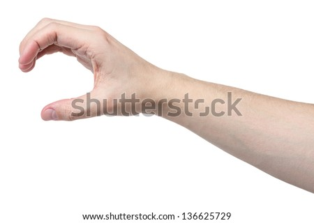 adult man hand to hold something cylinder like a bottle, isolated - stock photo