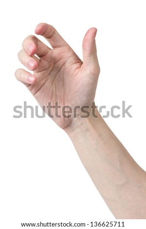 adult man hand to hold something, isolated on white - stock photo